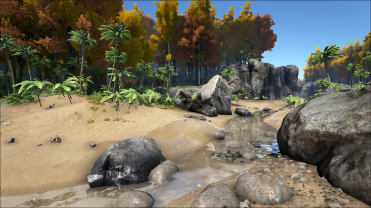 The rocks in rivers are also good for harvesting Flint in Ark, but beware of predators.