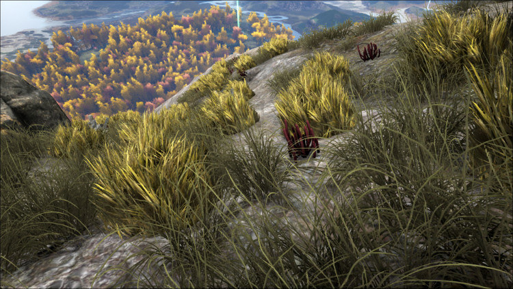 This image shows some bushes on a mountain top that can provide Rare Flowers on the Ark.