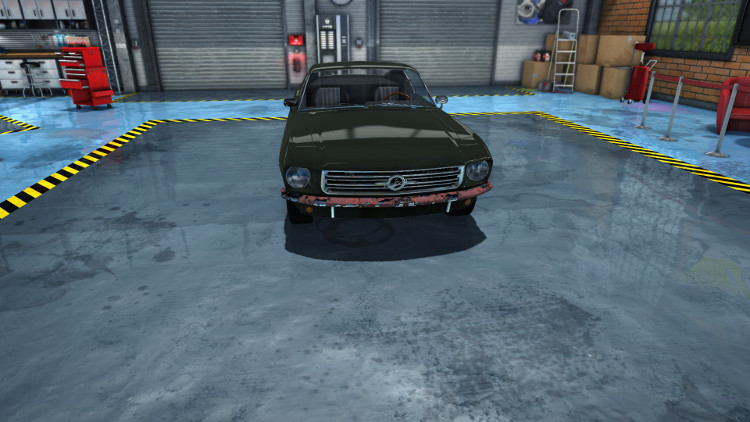 Here we can clearly see significant damage to the front bumper of this car in Car Mechanic Simulator 2015.