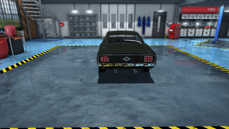 The damage to the rear bumper on this car is clear visible in Car Mechanic Simulator 2015, though the damage to the left tail light is harder to see.