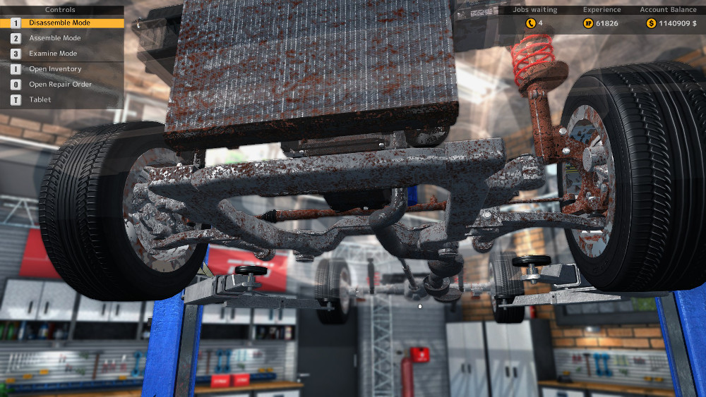 In this image from Car Mechanic Simulator 2015 we can see that the vehicle has many faulty steering and suspension parts.