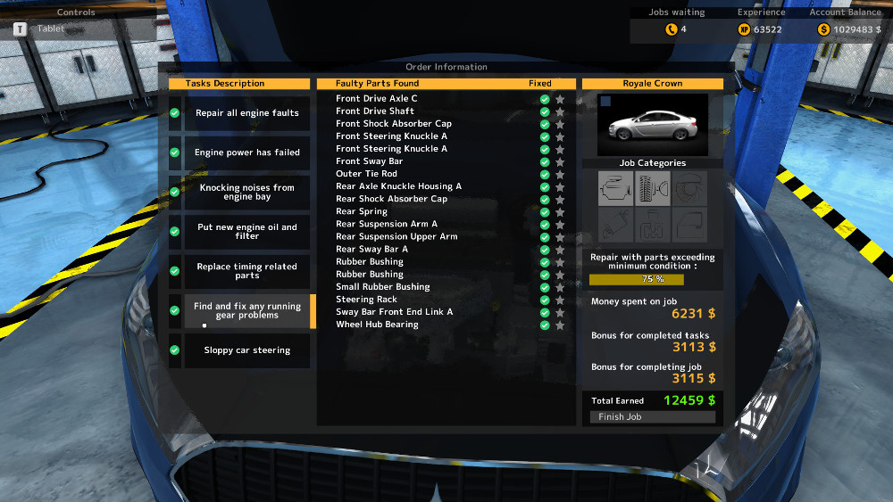 Here we can see that this repair order from Car Mechanic Simulator 2015 shows several running gear faults, including drive axles and suspension arms.