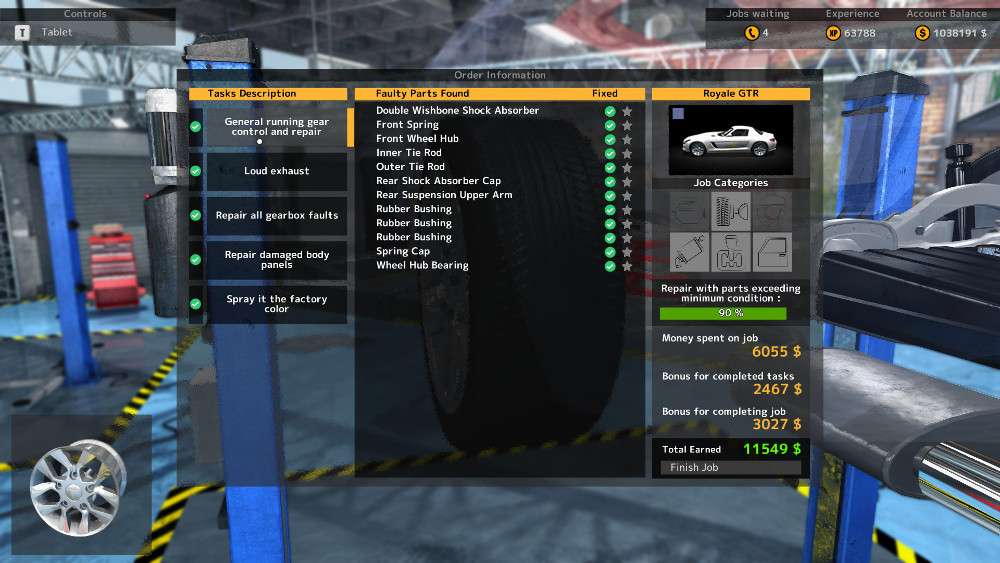 In this running gear repair order from Car Mechanic Simulator 2015 we can see that this car has some tie rod issues and bushing problems, along with several other defects.