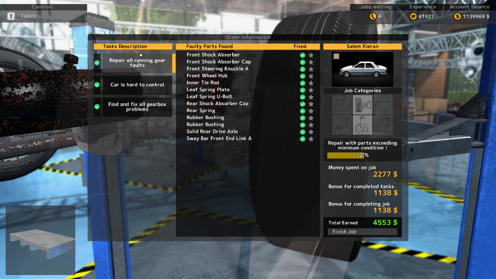 Shocks, leaf spring components, and rubber bushings make up the majority of the running gear faults on this repair order from Car Mechanic Simulator 2015.
