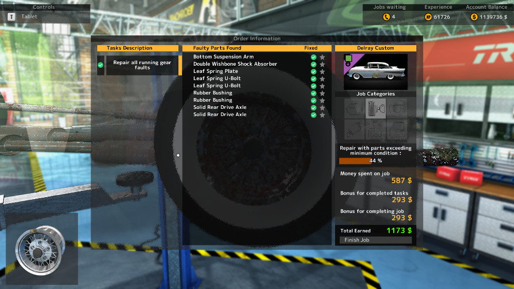 Drive axles and leaf components are the bulk of the issues on this repair order from Car Mechanic Simulator 2015.