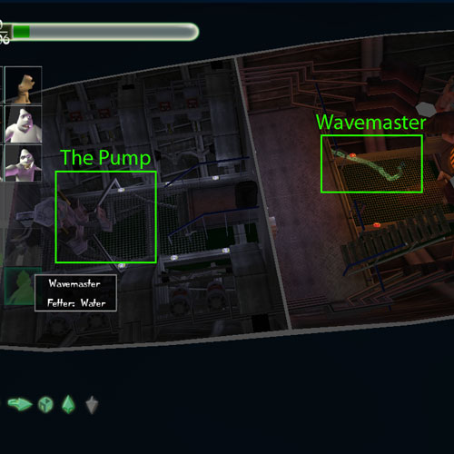 The location of Wavemaster and the Pump that must be activated to free her.