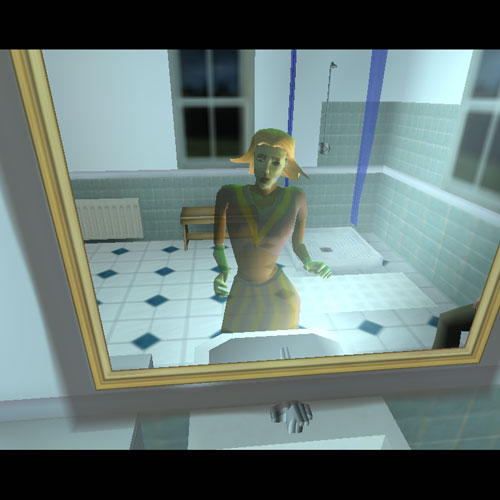Tricia is trapped in the mirror in the upstairs bathroom. Have Blair look in the mirror and Tricia will be free.