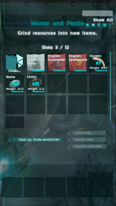 In Ark the Mortar & Pestle has the same general controls as does crafting in your inventory.