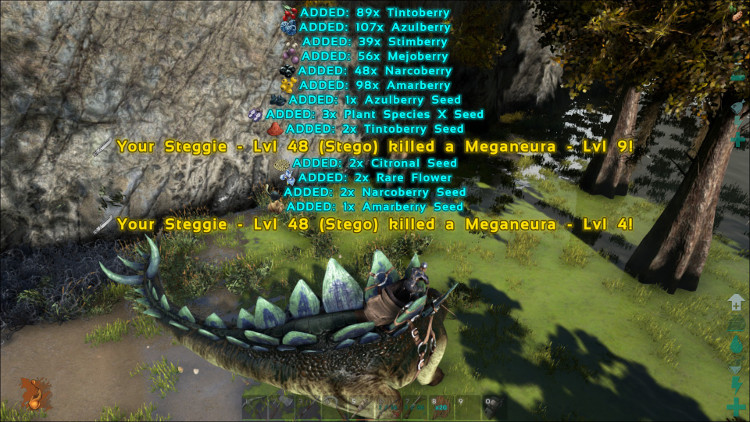 This image shows the power of harvesting bushes using Dino Power on the Ark to acquire Plant Species X Seeds.
