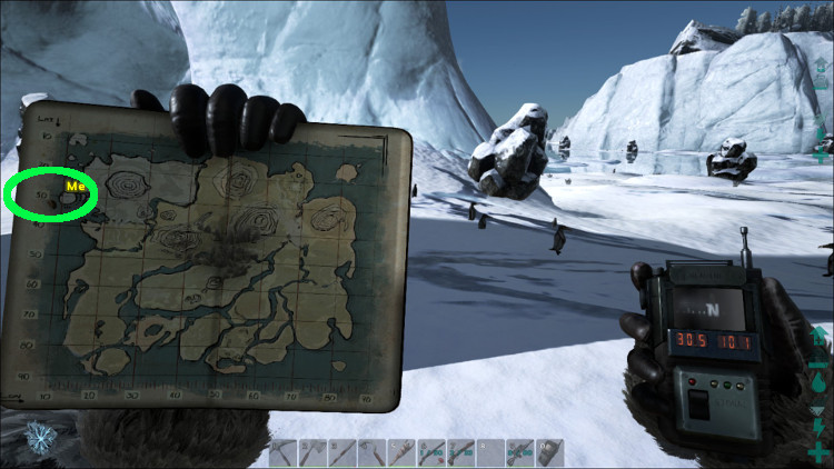 You'll find many Kairuku, which are a source of Organic Polymer, on the Icebergs in the Snow Biome of Ark.
