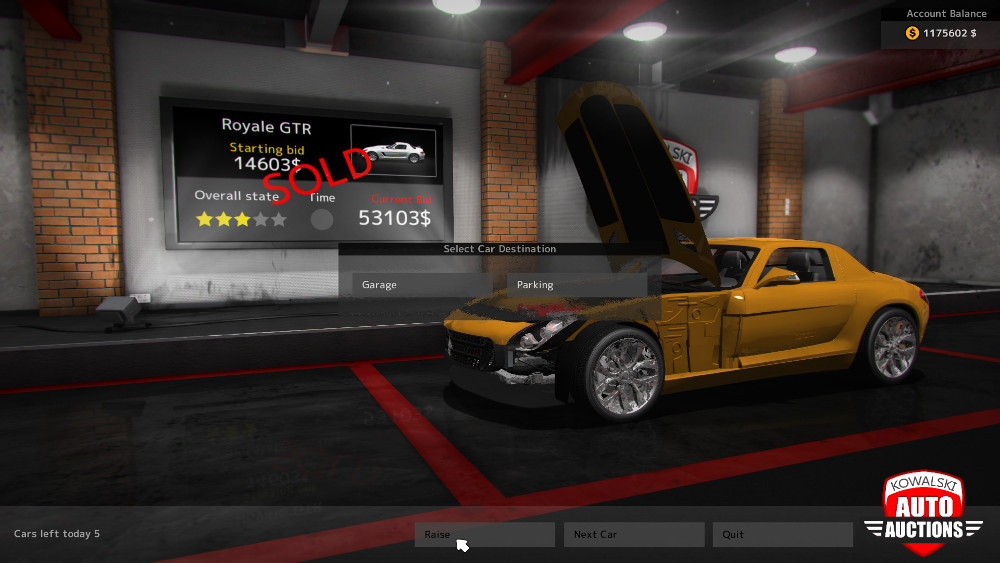 When buying vehicles at the Auctions Center in Car Mechanic Simulator 2015 you only get to see the price, star rating, part of the body, and a glimpse under the hood. You're not quite buying blind, but really close to it.