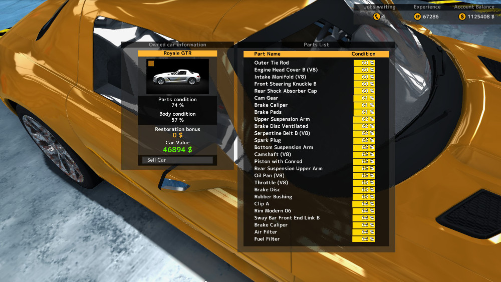 The work orders for vehicles you purchase at the Auctions Center in Car Mechanic Simulator 2015 are totally different than work orders for client vehicles.