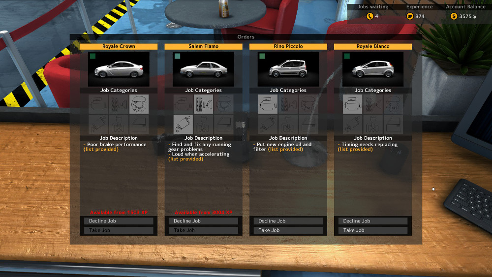 The job queue can hold up to four jobs, and there is no penalty for declining jobs in Car Mechanic Simulator 2015.